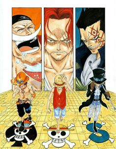 Ace, Sabo, Luffy & their respective mentors; Whitebeard, Shanks & Dragon - badass ASL Brothers