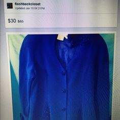 Vtg: Blue peplum blazer NWOT Padded shoulder ( can be remove ).beaded beautifully on the left shoulder top and lower right side. Size 14 made by Baluchi . End of the sleeve has a silk cuff.Also work with bridal blue silk lining.more picture details visit @ flashback closet. Thanks Baluchi Jackets & Coats Blazers