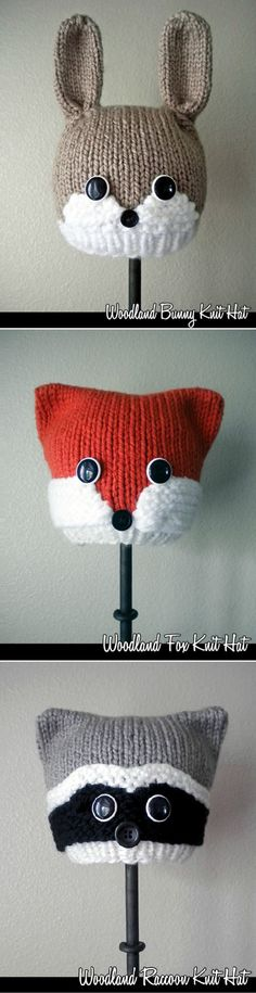 Cute Knitted Woodland Animal Hats