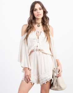 From the beach to the festivals, this Embroidered Shoulder Cut Romper will come in handy, plus the comfort level is amazing. We love this paired with gladiator sandals and a boho style necklace.