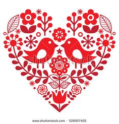 Folk Embroidery Patterns Folk art pattern with birds and flowers - Finnish inspired, Valentine's Day - Hungarian Embroidery, Folk Embroidery, Learn Embroidery, Embroidery Patterns, Deco Floral, Art Floral, Bordado Popular, Gravure Illustration, Scandinavian Folk Art