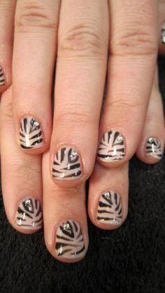 Zebra print design using gel polish by Crystal, 651-739-8489