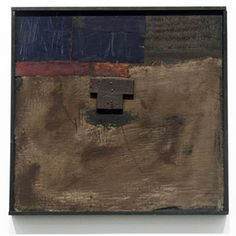 Hannelore Baron  Untitled (B-85011), 1985  Assemblage of flag and wood with paint, 12 1/4 x 12 5/8 inches