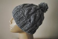 Knit Gray Hat Beanie Beret Cap Chunky for by BouquetSpecialDesign, $30.00