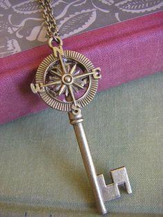 Antique Brass Compass Key Necklace