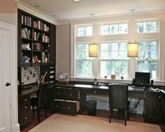 Home Office: Wrap around window desk. Smart.