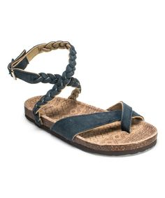 Look at this Blue Zara Braided Strappy Suede Sandal on #zulily today!