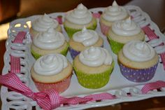 Boy Cheese Sandwich: White Cupcakes with Vanilla Almond Frosting