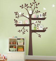 ORIGINAL Shelving Tree with Birds LARGE Kids Vinyl Wall