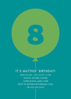 Custom Birthday Invitation - Green Balloon