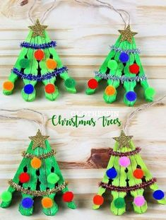 Clothespin Christmas Tree Craft - Christmas/Winter Crafts for Kids - Crafts Christmas Tree Crafts, Preschool Christmas, Simple Christmas, Christmas Projects, Kids Christmas, Christmas Gifts, Christmas Clothespin Crafts, Christmas Movies, Christmas Tree Decorations For Kids