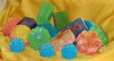 Lots of beautifully coloured soaps
