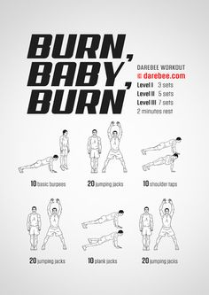 Burn, Baby, Burn is a light, fast workout specifically designed to induce a burn. Darbee Workout, Cardio Workout At Home, At Home Workouts, Workout Plans, Crossfit Routines, Spartan Workout, Calisthenics Workout, Workout Ideas, Kickboxing