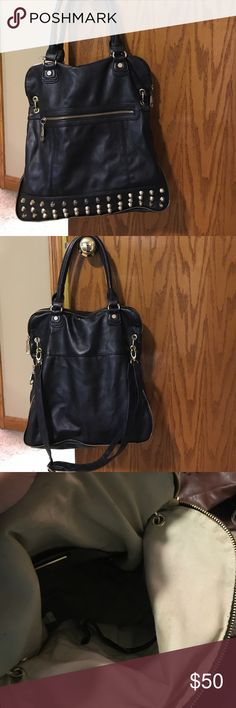 Steve Madden Gold Studded Bag Black shoulder bag with gold studs and gold zipper detail. attached strap to wear at a longer length. Zipper closure. Pockets inside for cell phone. Steve Madden Bags