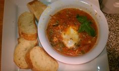 Shakshuka (eggs cooked in tomato sauce) from Adam! Clean Eating.