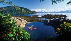 Hotspring Island- Natural Hot Pool Overlooking the Ocean in Gwaii Haanas National Park, Haida Gwaii - Canada Oh The Places You'll Go, Great Places, Places To Travel, Travel Destinations, Beautiful Places, Places To Visit, Dream Vacations, Vacation Spots, Romantic Vacations