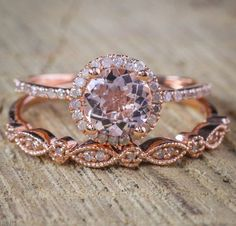 On Sale: Save Over $400, Normal Selling Price is $899 NOW ON SALE FOR ONLY $479 A perfect handmade 2 carat Round Cut Morganite and Diamond Halo Bridal Wedding Ring Set in 10k Rose Gold affordable morganite and diamond bridal ring set. The beautiful womens engagement ring is a perfect #vintageengagementrings