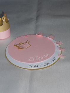 faire-part princesse rond , couronne (modéle Ellyana), cercles concentrique personnalisable Baptéme, Naissance