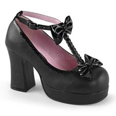 Demonia GOTHIKA-04 Black Vegan Leather-Patent T-Strap Shoes