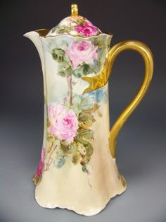 ~Gorgeous Pink Burgundy Yellow Roses Antique HAVILAND LIMOGES France CHOCOLATE POT Stunning Hand Painted Tea Roses Floral Art China Painting...circa 1900~