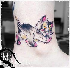 Fineline Cat Tattoo On Ankle Disney Tattoos Small, Small Tattoos, Hand Tattoos, Sleeve Tattoos, Disney Watercolor Tattoo, Disney Princess Tattoo, Disney Cats, Wonderland Tattoo, Mouse Tattoos