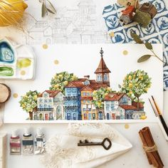 Artist Tonia Tkach paints storybook illustrations inspired by the world around her Watercolor Trees, Watercolor Artists, Watercolor Background, Watercolor Landscape, Abstract Watercolor, Watercolour Painting, Simple Watercolor, Tattoo Watercolor, Watercolor Animals