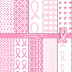 Pink Ribbon Breast Cancer Awareness Digital Paper