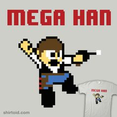 "Mega Han    ""Mega Han"" by Evan Earley aka IG-HateyHate    Han Solo in the style of Mega Man."