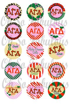 """BUY 2, GET 1 FREE - Alpha Gamma Delta Sorority Girly Bottle Cap Images Version 2 Digital Printable File 4x6""  We could make button pins!! ..give out during recruitment? :D"