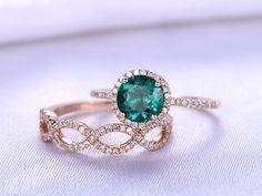 Wedding Ring Set,Emerald Engagement ring,7mm Round Cut Lab-treated Emerald,New Design Diamond Wedding Ring,Solid 14K Rose Gold Ring Set