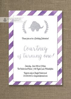 Purple & Silver Glitter Birthday Invitation Little Elephant baby girl birthday party invite with watercolor by digibuddhaPaperie, $20.00
