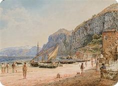Artwork by Jakob Alt, Rudolf von Alt, Fishermen on the Beach of the Amalfi Coast, Made of Watercolor on paper