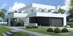 Find home projects from professionals for ideas & inspiration. Projekt domu HomeKONCEPT 41 by HomeKONCEPT Modern House Facades, Modern Exterior House Designs, Modern Villa Design, Modern House Plans, Flat Roof Design, Gable Roof Design, Beautiful Buildings, Beautiful Homes, Beautiful Images