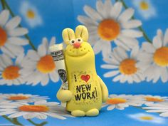 Unique gifts Rabbit I Love new work Office gifts Corporate gifts Funny gifts Staff gift It works Little gifts Handmade pottery by HomemadeCraftIdeas on Etsy