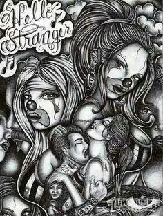 Shoo bop Shoo bop My Babyyy Ooo❤❤Never Gets Old❤❤ Badass Drawings, Chicano Drawings, Chicano Tattoos, Beautiful Drawings, Dope Tattoos, Awesome Tattoos, Chicano Love, Chicano Art, Og Abel Art