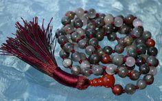 Red African Bloodstone Mala Beads Necklace - Enhances Blood flow, Deci – AwakenYourKundalini