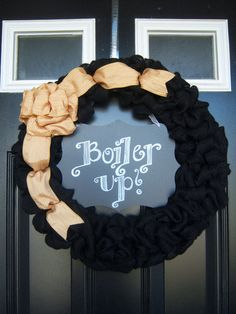 Purdue Black Burlap Wreath with Gold Bow with Erasable Chalk Board