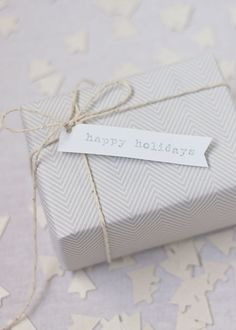 Herringbone and silver twine #simple #gift #wrapping #presents #packaging #white #twine