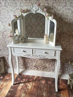 White Shabby Chic Dressing Table Crystal Knobs Triple Mirror Stool for sale online Shabby Chic Dressing Table, White Dressing Tables, Dressing Table Mirror, Vintage Country, Country Style, French Vintage, Standing Mirror, Crystal Knobs, Autumn Home