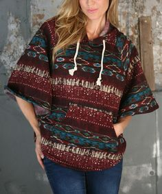 Loving this Wine Geometric Hooded Sweater on #zulily! #zulilyfinds