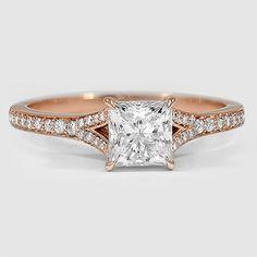 14K Rose Gold Duet Diamond Ring // Set with a 0.96 Carat, Princess, Ideal Cut, D Color, IF Clarity Diamond