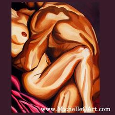 This sensual painting of a couple is called Embrace. It's 24 x 30 acrylic on boxed canvas.