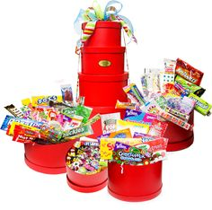 Our Red Mega Holiday Nostalgic Candy Gift Tower is the ultimate Christmas Candy Gift filled with Nostalgic Candy Favorites that will sweeten up the Holidays.