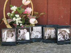 Wedding Table Numbers, how cute would this be if for each # there was a pic of Andy & I at that age in it?!