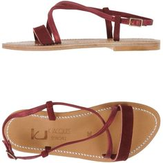K. Jacques St. Tropez Sandals ($165) ❤ liked on Polyvore featuring shoes, sandals, maroon, round cap, flat sandals, k jacques sandals, real leather shoes and leather flat shoes