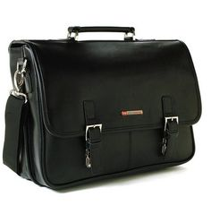Hunter Flap-over double buckle leather briefcase is a professional dressy briefcase with many features in a compact double gusset semi structured frame. #picsandpalettes #messengerbag #amazon