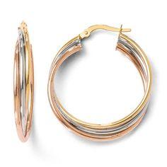 14 k Leslie's Tri-color poli et texturé Boucles d'oreilles créoles torsadées Par UKGems