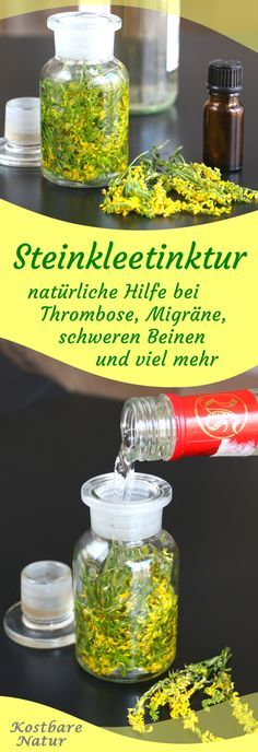 Selbstgemachte Steinklee-Tinktur gegen schwere Beine, Migräne und viel mehr Use the blood thinning clover with calf cramps, migraines and heavy legs in a cheap, homemade tincture. Herbal Remedies, Health Remedies, Natural Remedies, Health Logo, Healing Herbs, Body Treatments, Health And Beauty Tips, Diet And Nutrition, Healthy Tips