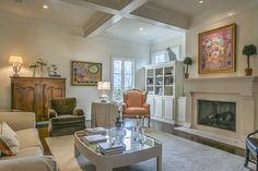 Art over fireplace - art lover's dream home