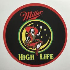 "Miller Highlife Lady in the Moon 7"" Round Metal Sign"